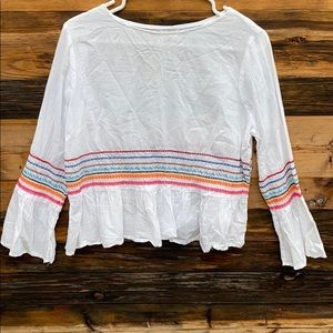 Anthropologie | Eze Sur Mer Rainbow Embroidery Top